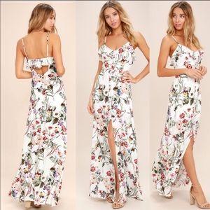 Lulu's floral maxi dress high low Sz M